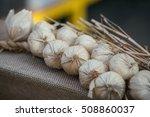 plait of fake decorative garlic ... | Shutterstock . vector #508860037