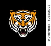 stylized head of snarling tiger ... | Shutterstock .eps vector #508865773