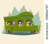 trailer with traveling happy... | Shutterstock .eps vector #508866787