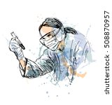colored hand sketch scientist.... | Shutterstock .eps vector #508870957