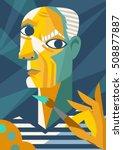 picasso cubist portrait... | Shutterstock .eps vector #508877887