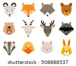 cute animals icons set. cat and ... | Shutterstock .eps vector #508888537