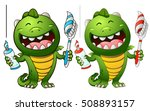 cute green baby dragon with... | Shutterstock .eps vector #508893157