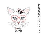 cute kitten girl face with... | Shutterstock .eps vector #508898977