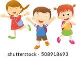 children go to school with a... | Shutterstock .eps vector #508918693