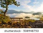 Stock photo sunrise at lake bled from ojstrica viewpoint slovenia europe 508948753