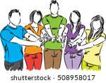 group of people thumbs up...   Shutterstock .eps vector #508958017