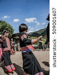 Small photo of CHIANG MAI, THAILAND - August. 1,2010 :Unidentified people of the Black Lahu hill tribe perform dance wearing traditional dresses in Chiang Mai, Thailand.