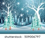 tree without leaves in snowy... | Shutterstock .eps vector #509006797