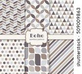 boho seamless patterns set.... | Shutterstock .eps vector #509009863