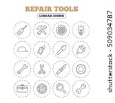 repair tools icons. hammer with ... | Shutterstock .eps vector #509034787
