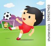 boys playing soccer on field... | Shutterstock .eps vector #509037403