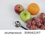 stethoscope with fruits ... | Shutterstock . vector #509042197