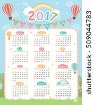 2017 twelve month calendar on... | Shutterstock .eps vector #509044783