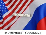 russian usa flag sanctions... | Shutterstock . vector #509083327