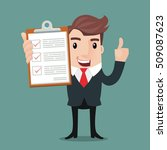 businessman hold clipboard and...   Shutterstock .eps vector #509087623