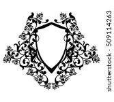 heraldic shield among rose...   Shutterstock .eps vector #509114263