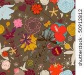 vector retro floral  seamless... | Shutterstock .eps vector #50912812
