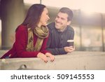 mixed race couple embracing ... | Shutterstock . vector #509145553