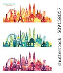 world skyline. travel and... | Shutterstock .eps vector #509158057