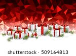 red geometric christmas... | Shutterstock .eps vector #509164813