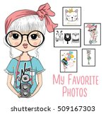 Stock vector cute girl with camera 509167303