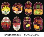 set of organic fruit retro... | Shutterstock .eps vector #509190343
