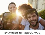 two happy young adult couples... | Shutterstock . vector #509207977