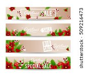 christmas sale banner set with... | Shutterstock .eps vector #509216473