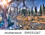 scenic cemetery  and tombstone... | Shutterstock . vector #509251267