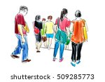 crowd walking illustration | Shutterstock . vector #509285773