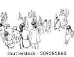 crowd walking illustration | Shutterstock . vector #509285863