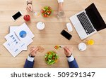 business lunch together at... | Shutterstock . vector #509291347