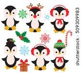 cute christmas penguin vector... | Shutterstock .eps vector #509309983