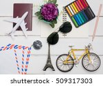 flat lay   sun glasses flower ... | Shutterstock . vector #509317303