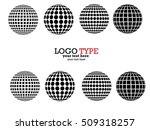set of abstract striped spheres.... | Shutterstock .eps vector #509318257