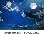 Night Sky With Stars And Full...
