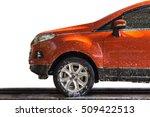 Orange Car With White Soap On...