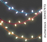 beautiful garland with glowing ... | Shutterstock .eps vector #509457973
