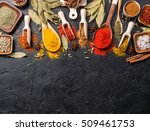 variety of spices and... | Shutterstock . vector #509461753