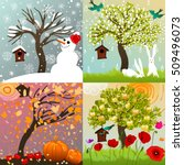 four seasons set with tree ... | Shutterstock . vector #509496073