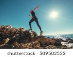 wide angle photo of man running ... | Shutterstock . vector #509502523