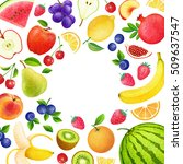 colorful background with fruits ... | Shutterstock . vector #509637547