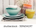 set of bright ceramic bowls... | Shutterstock . vector #509654197