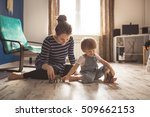 young pregnant mother with... | Shutterstock . vector #509662153