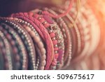 braided leather bracelets with... | Shutterstock . vector #509675617