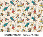 vector seamless patterns with... | Shutterstock .eps vector #509676703