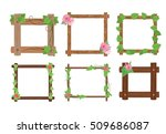Wooden Frames With Leaves And...