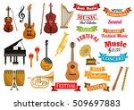 music instruments. ribbons ... | Shutterstock .eps vector #509697883