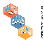 isometric office vector... | Shutterstock .eps vector #509723107